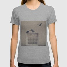 Let me be a bird in your window - vintage retro, beige cream, urban, black and white photography Womens Fitted Tee Athletic Grey SMALL