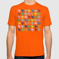 Houndstooth Colour Mens Fitted Tee Orange SMALL