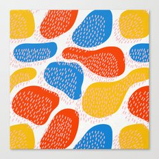 Abstract Orange, Blue and Yellow Memphis Inspired Pattern Canvas Print