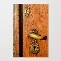 Old Oak Door With Brass Handle and Locks Canvas Print