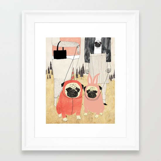 PUG LOVE Framed Art Print