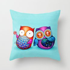 Night and Day Owls Throw Pillow