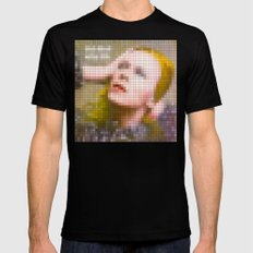 Bowie : Hunky Dory Pixel Album Cover Mens Fitted Tee Black SMALL