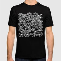 Water Lilies Mens Fitted Tee Black SMALL