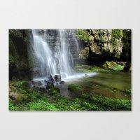Waterfall At Swallet Fal… Canvas Print