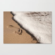 Foot print in the sand Canvas Print