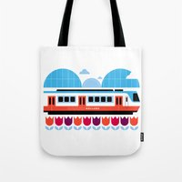 Postcards from Amsterdam / Train and Tulips Tote Bag