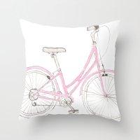 Pink Bike Throw Pillow