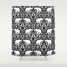 Elephant Damask Black and White Shower Curtain