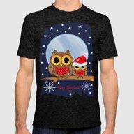 Cute Christmas Owls & Te… Mens Fitted Tee Tri-Black SMALL