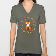 Unisex V-Neck featuring LITTLE FOX WITH AUTUMN B… by Daisy Beatrice