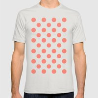 Polka Dots (Salmon/White) Mens Fitted Tee Silver SMALL