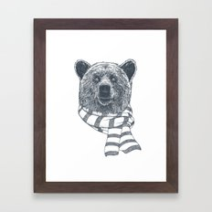 Winter Bear Drawing Framed Art Print