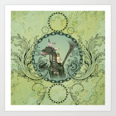 Friends, dragon with fairy  Art Print