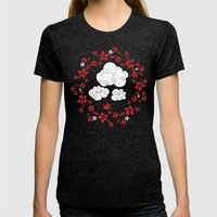 Cute clouds Womens Fitted Tee Tri-Black SMALL