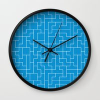 White Tetris Pattern on Blue Wall Clock