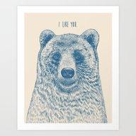Bear (Ivory) Art Print