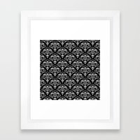 damask pattern back and white Framed Art Print