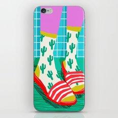 Sliders - memphis throwback retro neon 1980s 80s style pop art shoe fashion grid pattern socks iPhone & iPod Skin