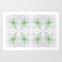 Circuit Board Green Repe… Art Print