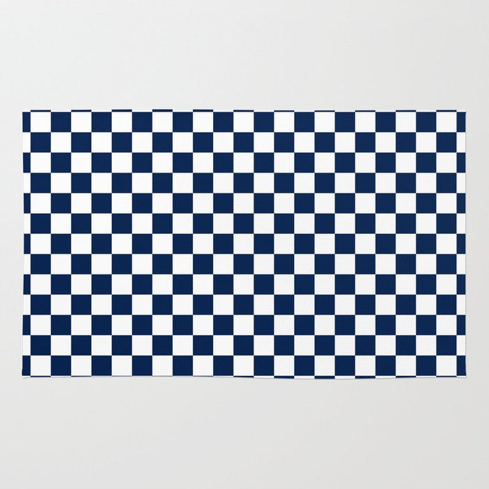 Checkered Blue And White Rug By Zen And Chic Society6
