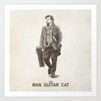 The Man Guitar Cat Art Print
