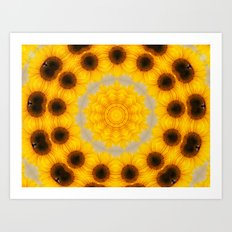 Sunflower and Bee Abstract Art Print