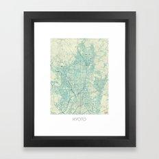 Kyoto Map Blue Vintage Framed Art Print