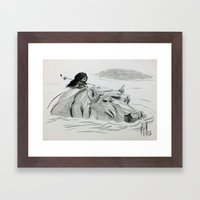 Fire and Hippo Framed Art Print