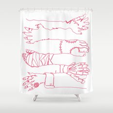 Classic Horror Hands (Red Line) Shower Curtain