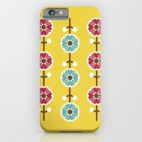 Scandinavian inspired flower pattern - yellow background iPhone 6 Slim Case