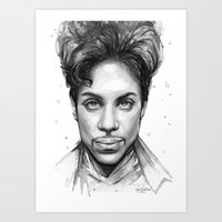 Prince Watercolor Black and White Portrait Art Print