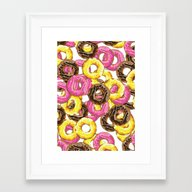 Framed Art Print featuring Delicious Donut Pattern by Nick's Emporium