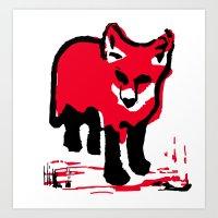 Red Fox Stamp Art Print