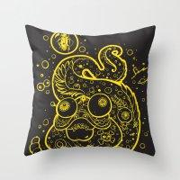 The Golden Eel (in yellow gold) Throw Pillow
