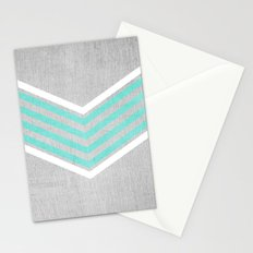Teal and White Chevron on Silver Grey Wood Stationery Cards