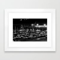 those boats look drunk. Framed Art Print