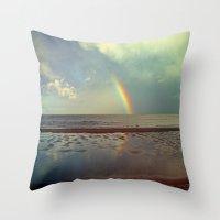 Rainbow Over Sea Throw Pillow