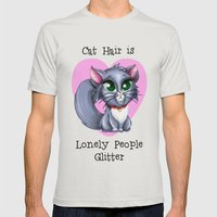 Cat Hair is Lonely People Glitter Mens Fitted Tee Silver SMALL