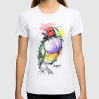 Red Lady Gouldian Finch Womens Fitted Tee Ash Grey SMALL