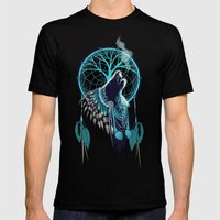 Wolf Indian Shaman Mens Fitted Tee Black SMALL