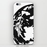 Full Moon black and white lino print iPhone & iPod Skin