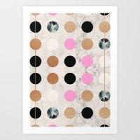 Rose Gold Dots Art Print