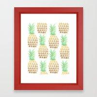 24K Gold Pineapples Framed Art Print