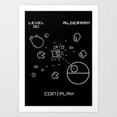 Retro Star Wars Arcade Alderaan Asteroids Art Print