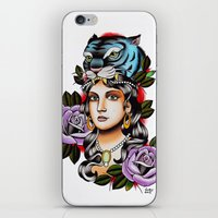PaperTigress girl with tiger head - tattoo iPhone & iPod Skin