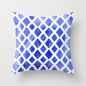 Watercolor Diamonds in Cobalt Blue Throw Pillow