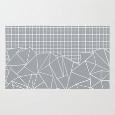 Abstract Outline Grid Grey Rug