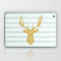 Gold Deer On Mint Waterc… Laptop & iPad Skin