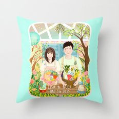 Wedding invitation design for Lisa and Alex Throw Pillow